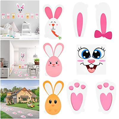 easter bunny stickers set with bunny footprints