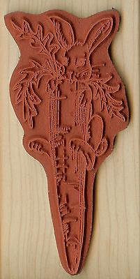 Easter Bunny Carrot Wood Mounted Rubber NORTHWOODS J6465