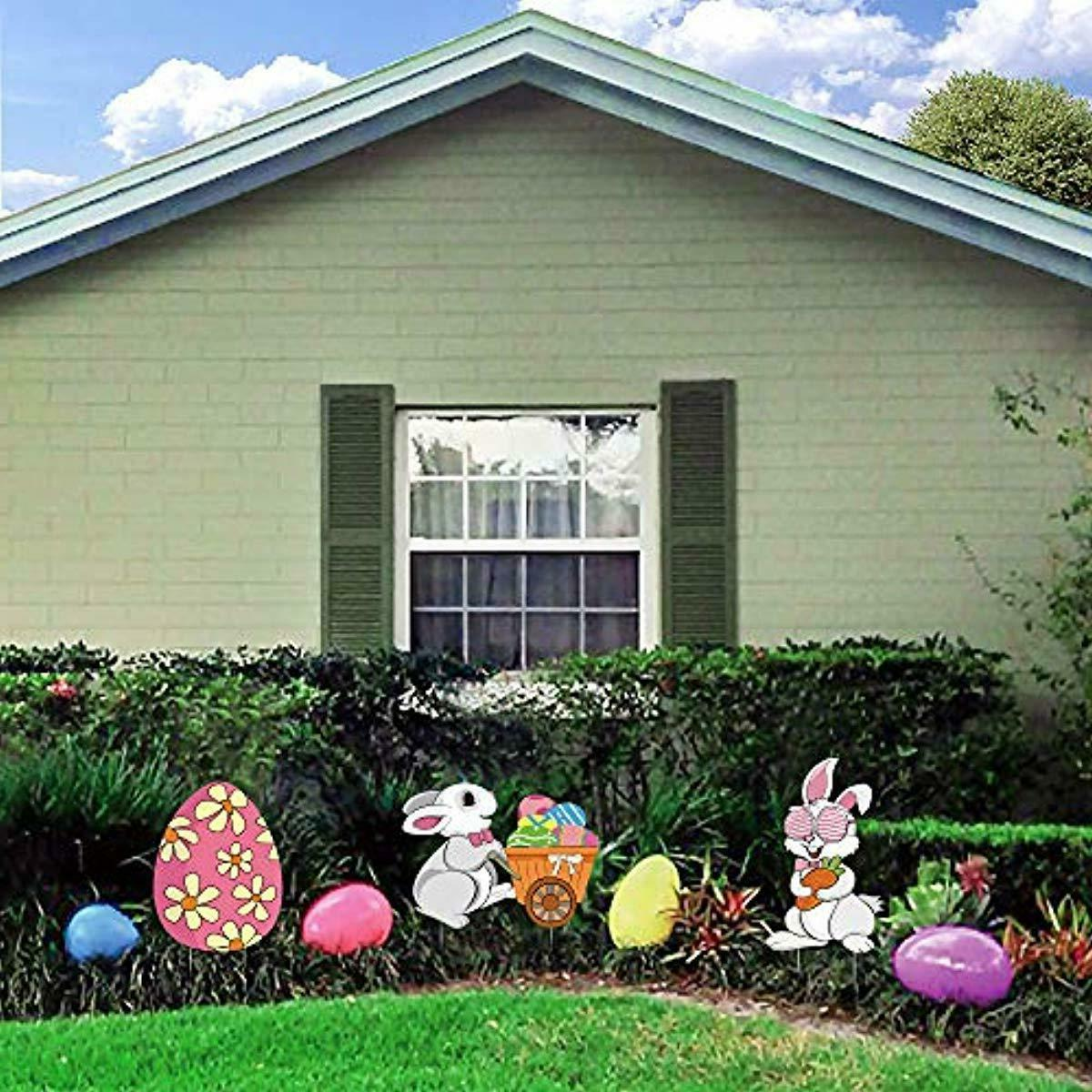 Ivenf Easter Decorations Outdoor, 3ct Bunny Eggs Yard with