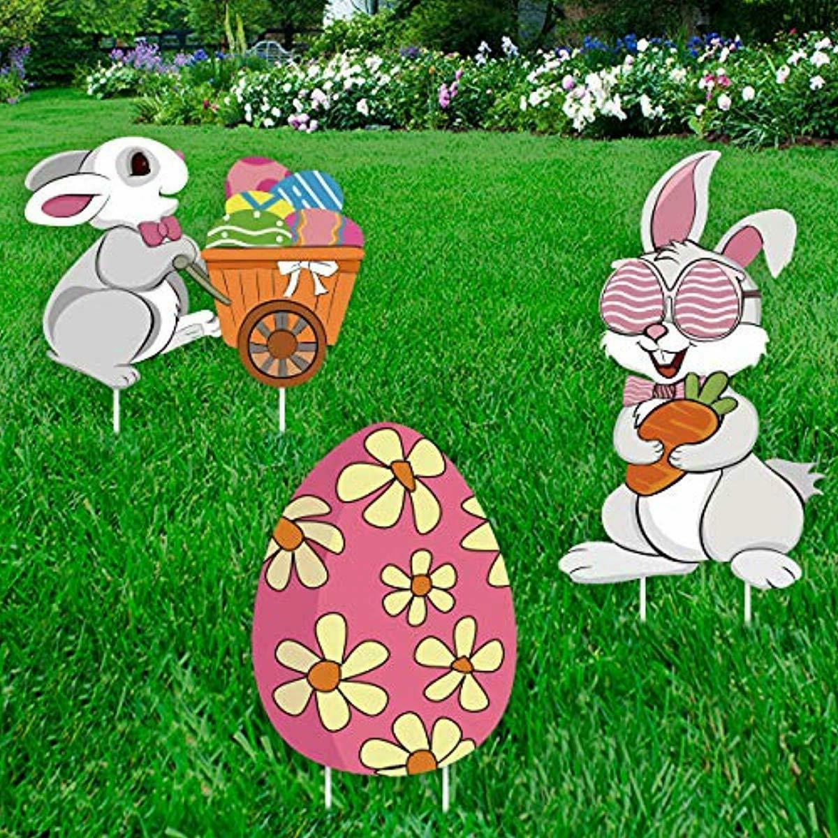 easter decorations outdoor 3ct bunny eggs corrugate