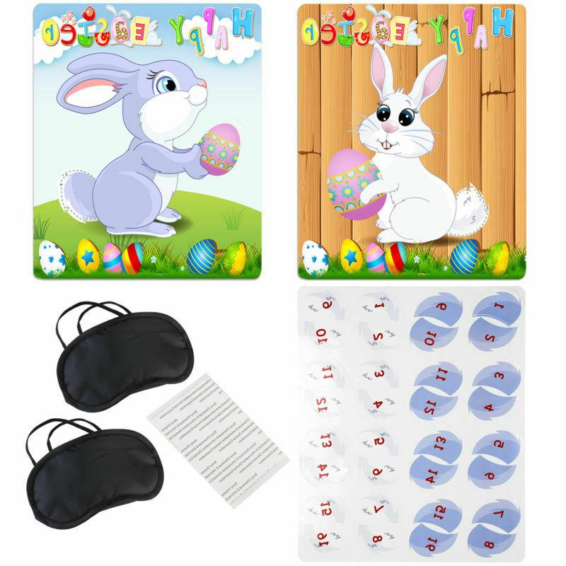 BESTOYARD Easter Game Pin Stick The Tail On Bunny Rabbit Chi