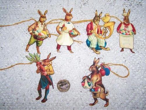 easter primitive vintage bunny hand cut linen