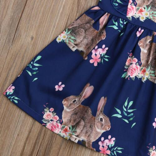 US Girl Bunny Dress Floral Party Casual Outfit Princess Sundress