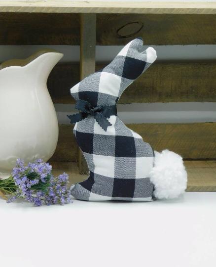Fabric Bunny Farmhouse Spring Home - Black Buffalo Plaid