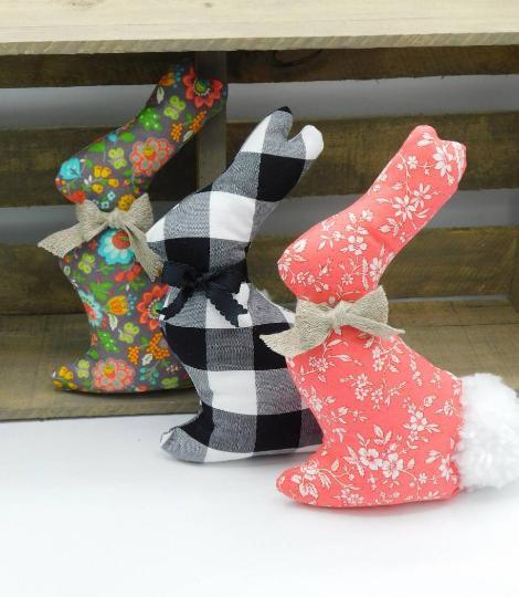 Fabric Easter Bunny - Farmhouse Home Decor - Black Plaid