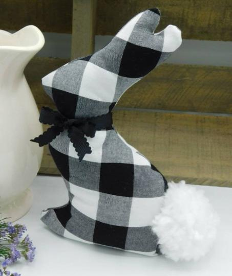 Fabric Bunny - Farmhouse Spring - Black Buffalo Plaid