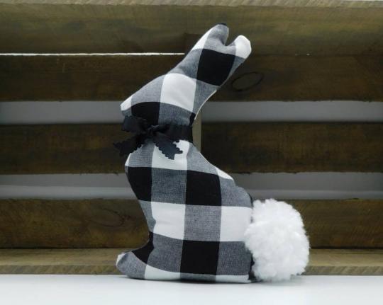 Fabric Easter Bunny Farmhouse Home Decor - Black White Plaid