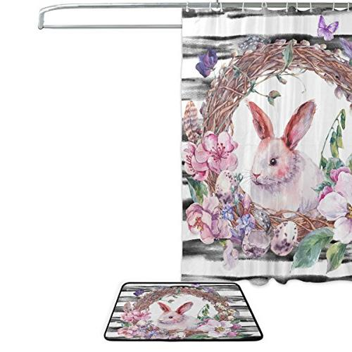 Floral Rabbit 60 X Shower and Mat Set, Happy Holiday Waterproof Fabric and Rug Set Hooks