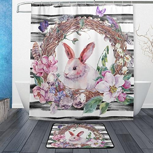 floral rabbit vintage shower curtain