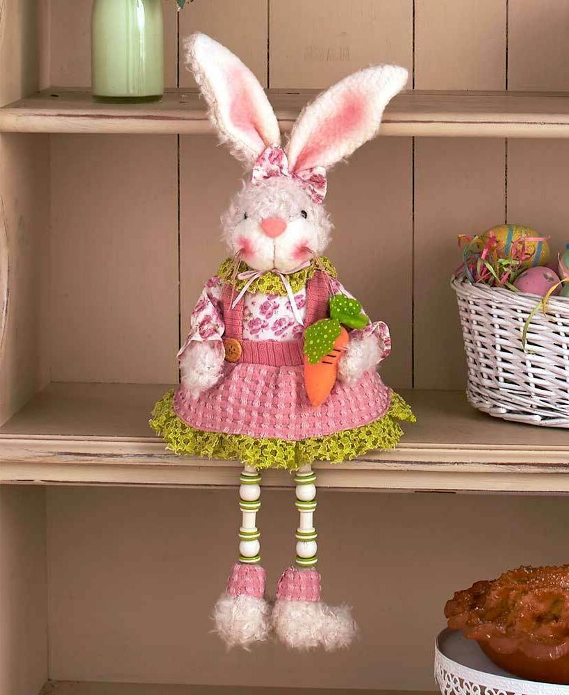 Girl Shelf Sitter Easter Bunny Rabbit Spring Home Decor 1-Pc