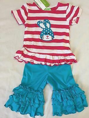Girls Boutique NEW NWT Easter Bunny Ruffle Set 12 18 24 mont