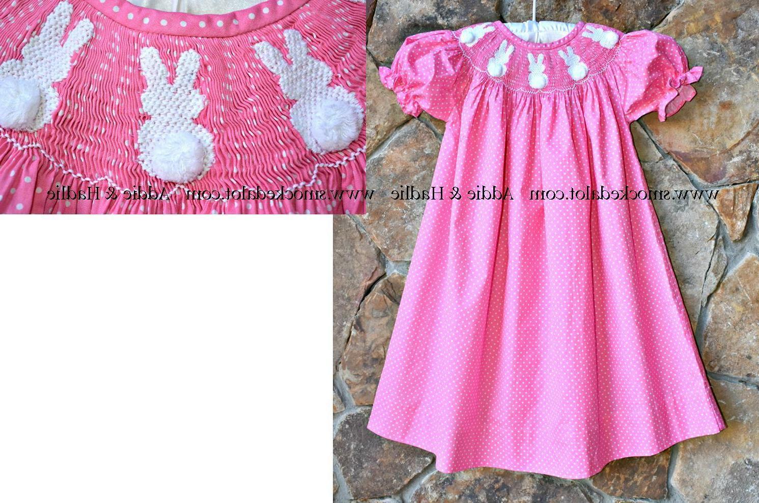 girls easter bunny bishop dress pink polka