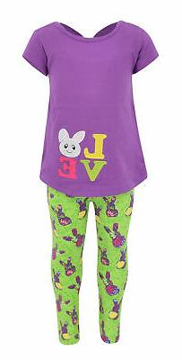 Girls Easter Bunny Love 2 Piece Outfit 2t 3t 4t 5 6 7 8 Todd