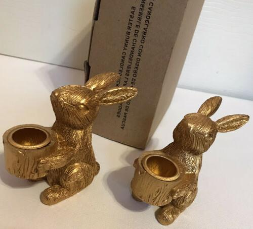 gold easter bunny candlestick holders set of
