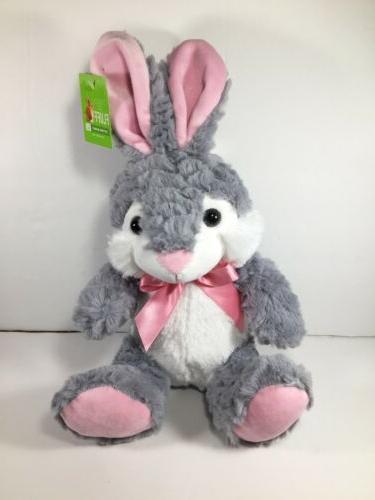gray and pink bunny rabbit plush 13