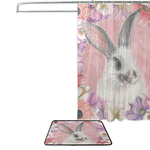 ALAZA Happy 72 Inches and Mat Bunny Waterproof Fabric Bathroom Rug