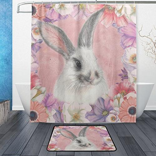 happy easter shower curtain mat