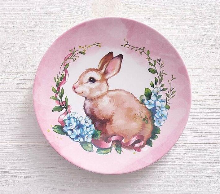 kids monique lhuillier bunny easter plate pink