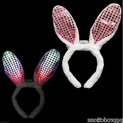 PINK LED BUNNY RABBIT EARS HEADBAND Light Up Sequins Adult E