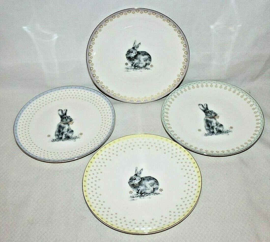 SPODE Meadow Bunny Rabbit Set of 4 Porcelain Plates New