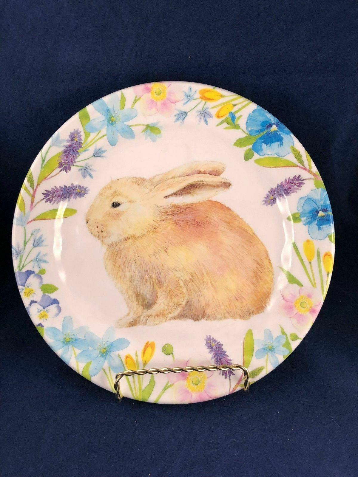 Cottontail Lane Melamine Dinner or Salad Set Easter