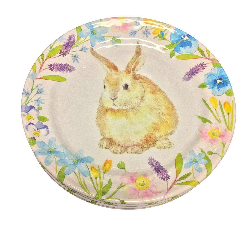 melamine dinner or salad plates bunnies set