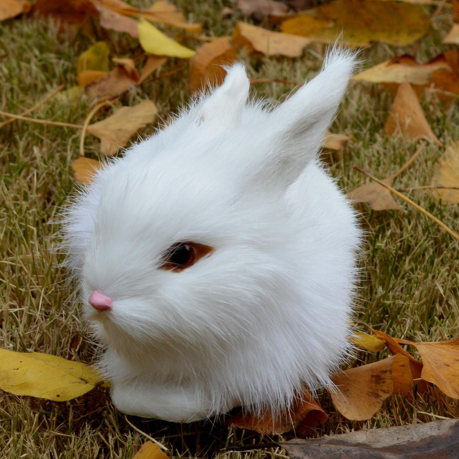Mini White Plush Fur Animal Easter Bunny