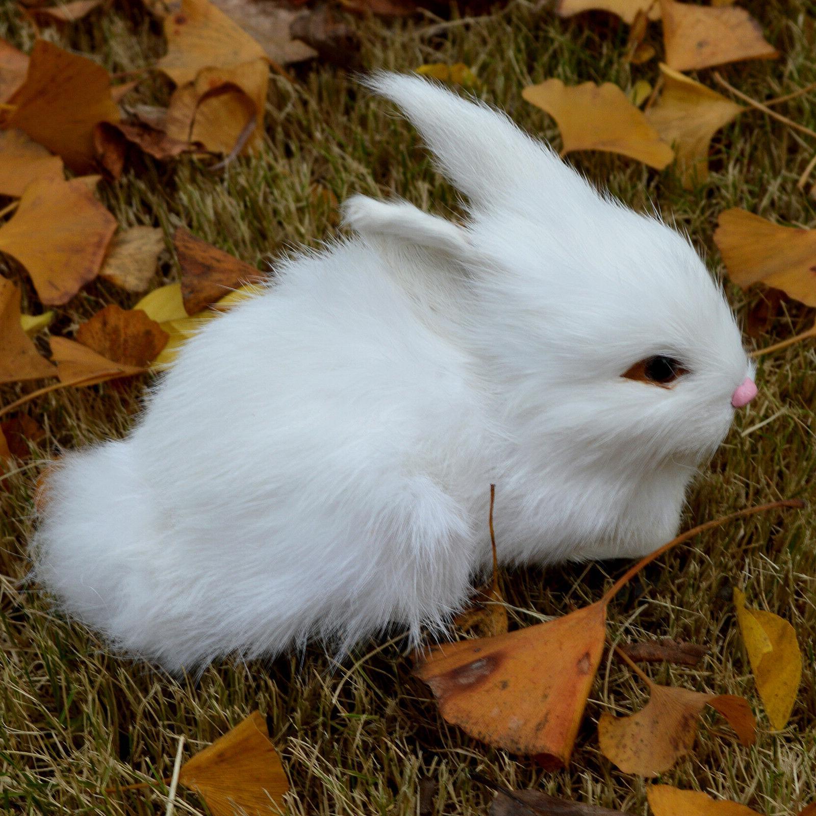 Mini White Plush Fur Lifelike Animal Easter Bunny