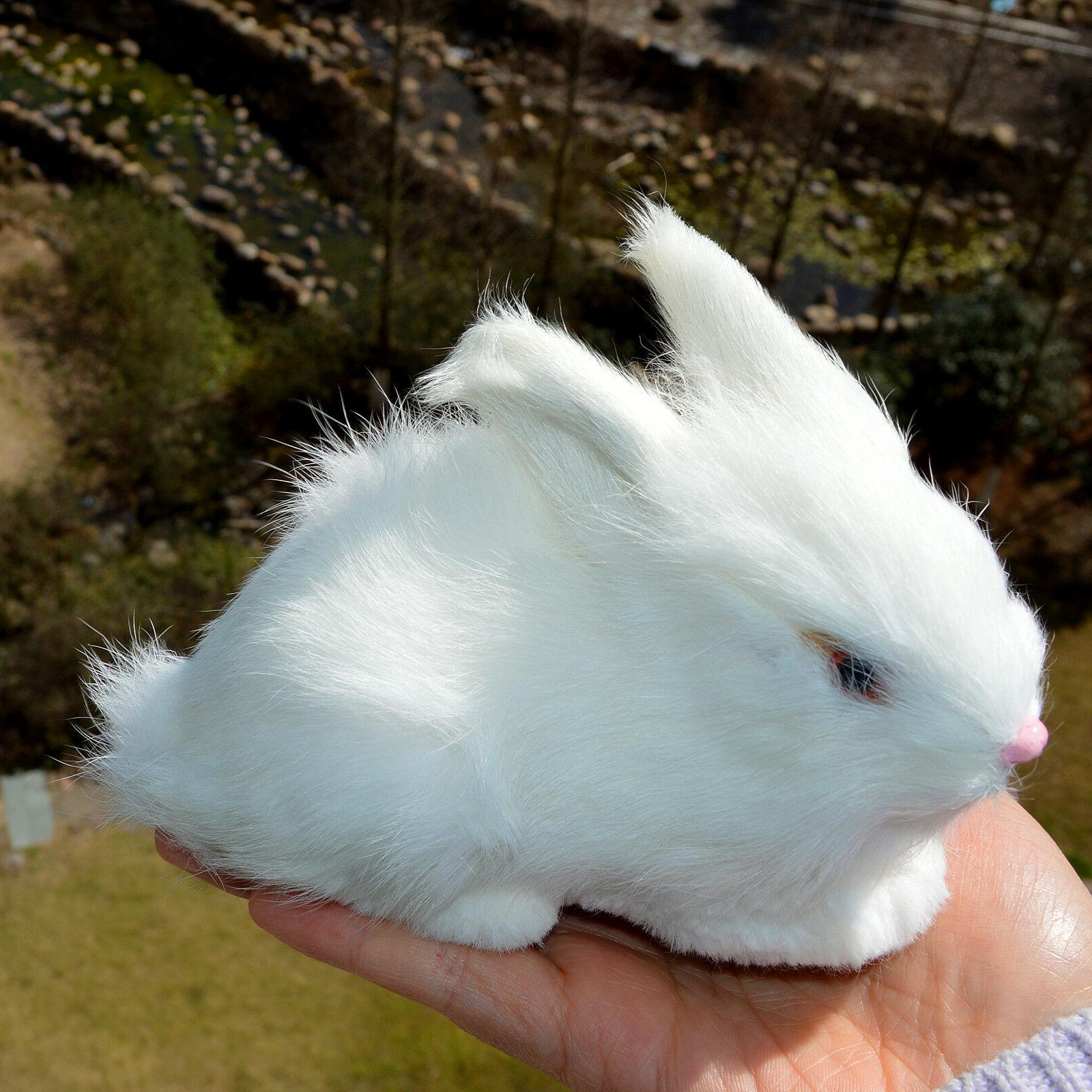 Mini White Plush Rabbits Animal Furry Easter Bunny
