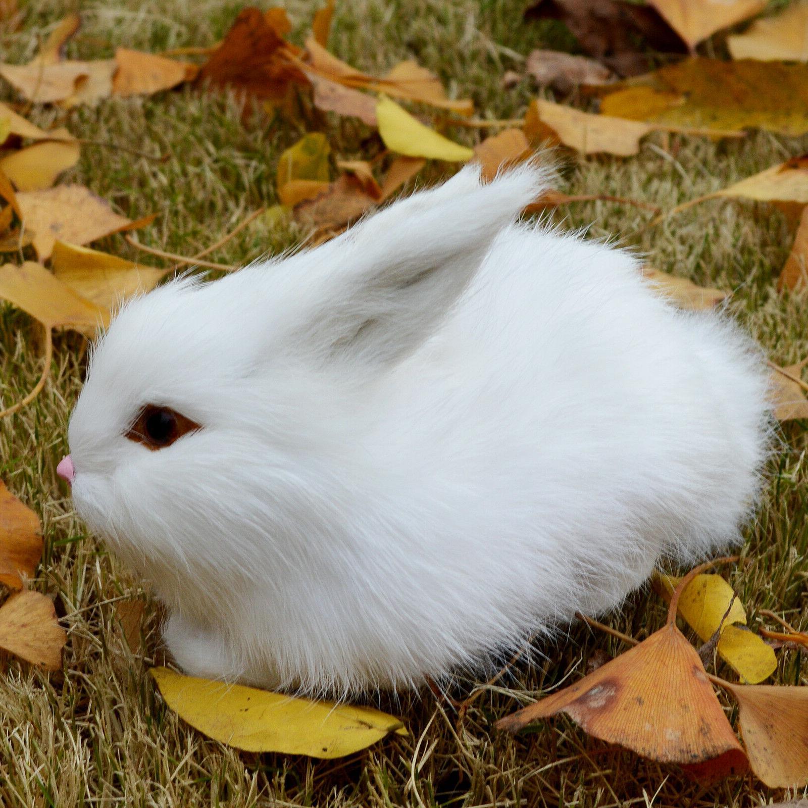 mini realistic cute white plush rabbits fur