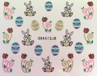 Nail Art 3D Stickers Glitter Decals Easter Bunny Easter Eggs