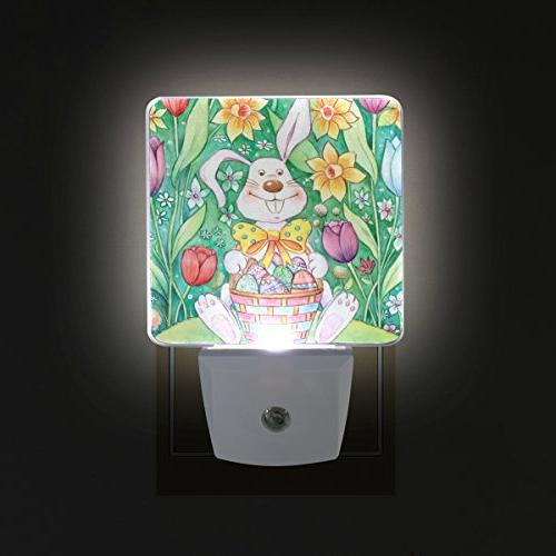 ALAZA Night Light with Dawn Sensor,Easter Basket in Light Great for Any