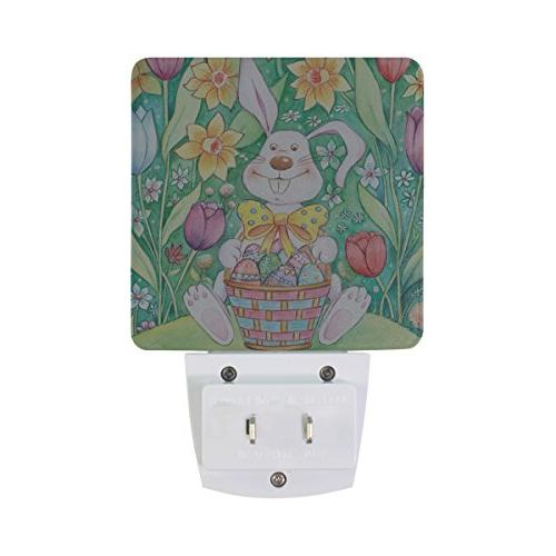 ALAZA Light with Smart Dusk Dawn Sensor,Easter Bunny Basket in Night Light for Bedroom Bathroom Hallway Stairways Any Room