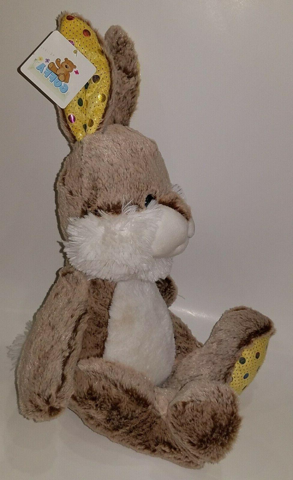 NWT Goffa Brown Rabbit Toy Yellow
