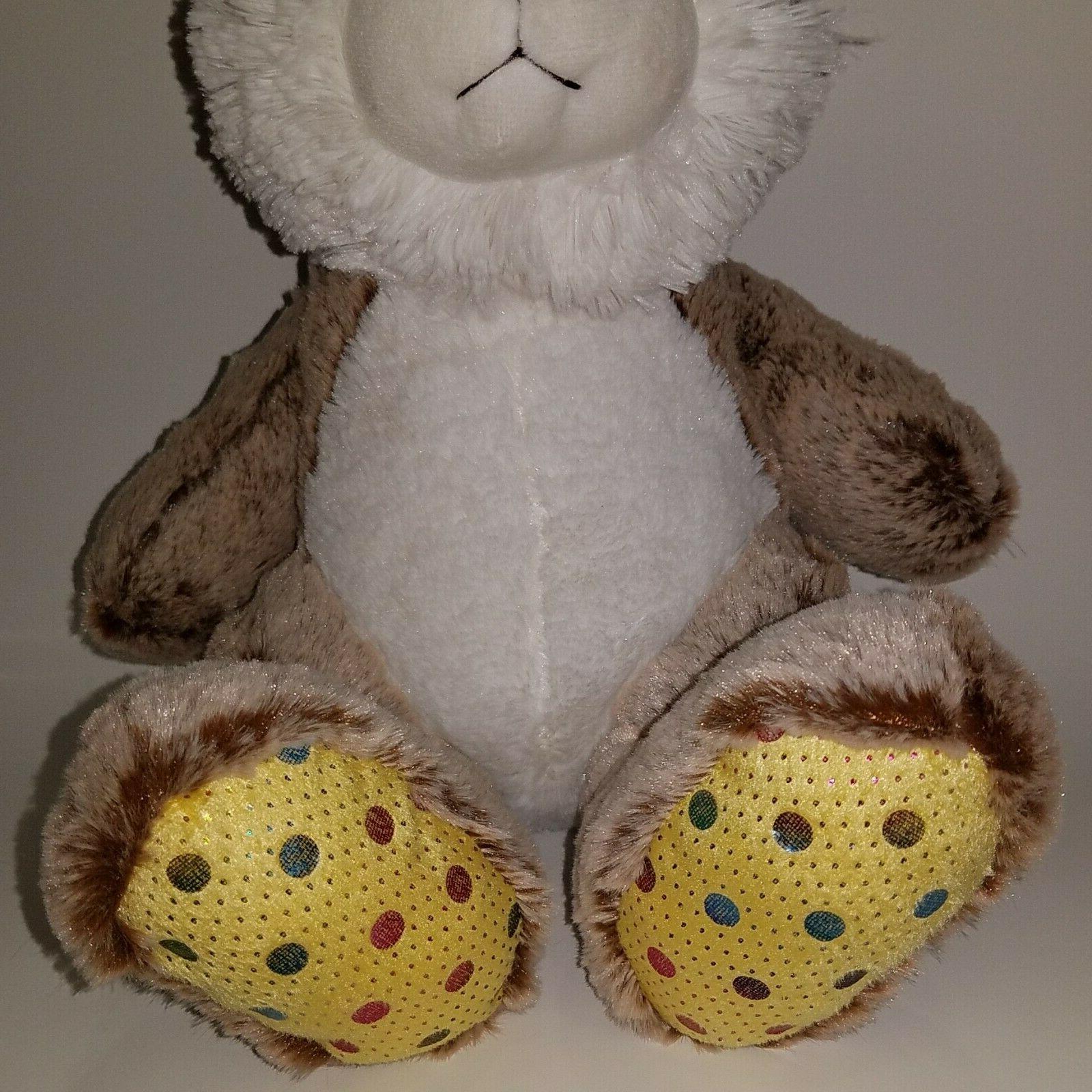 NWT Goffa Brown Bunny Rabbit Plush Stuffed Toy Easter White Yellow