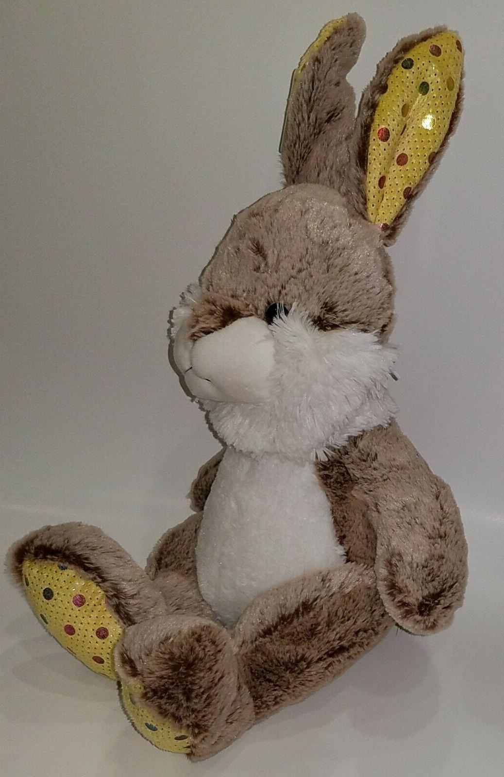NWT Goffa Brown Rabbit Animal Toy Basket Yellow