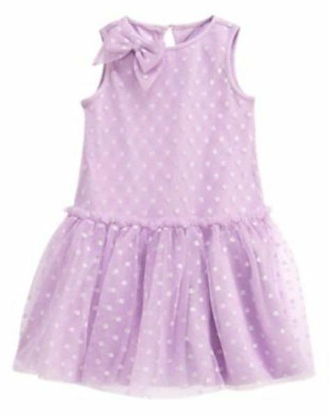 NWT Gymboree Tulle Bow Dots Dress 18 24mo 2T Lavender Bunny