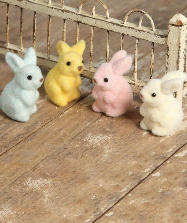 pastel fuzzy easter bunny rabbits set of