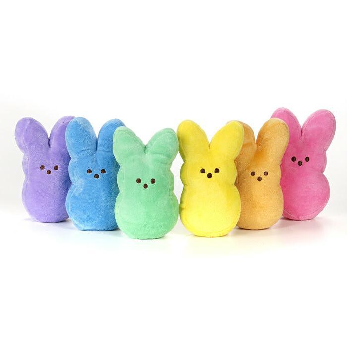 PEEPS Plush Bunny Stuffed Easter Basket Filler Orange