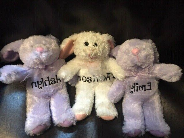 personalized plush easter bunnies kids baskets colorful