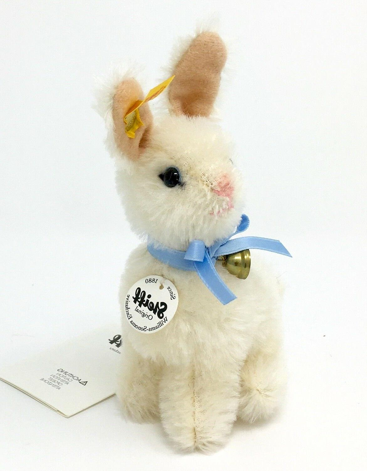 "Steiff Rabbit Mohair 5""  White Williams Sonoma Easter Bunny"