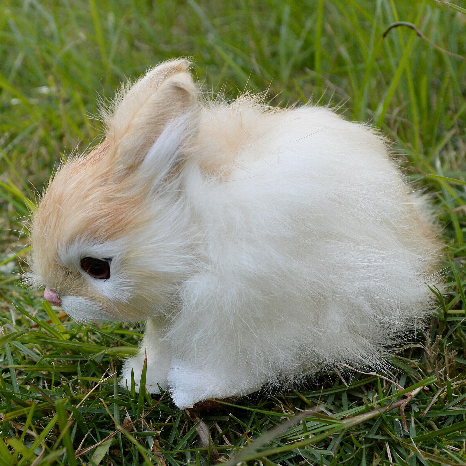 Realistic Bunny Fur Animal Figurine Holiday