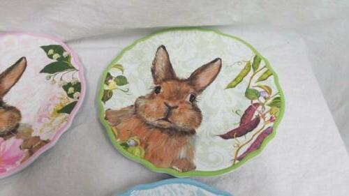 Set Easter Bunny Spring Salad Plates
