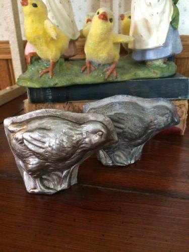 SET Tin Easter Bunny Rabbit Sheep Chick Mold Figurine