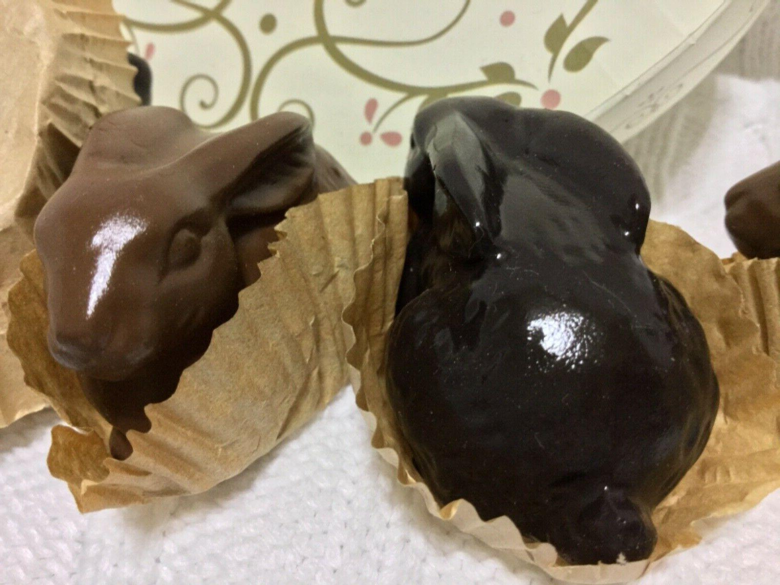6 DARK/MILK CHOCOLATE BOXED BUNNY DECORATIONS