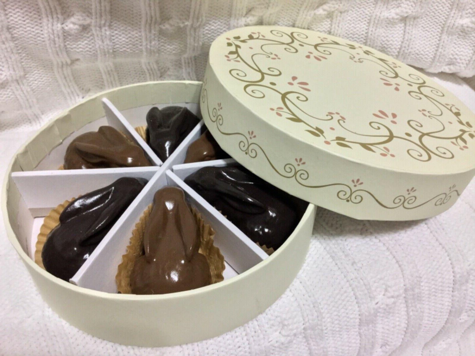 6 IMITATION DARK/MILK CHOCOLATE BOXED DECORATIONS