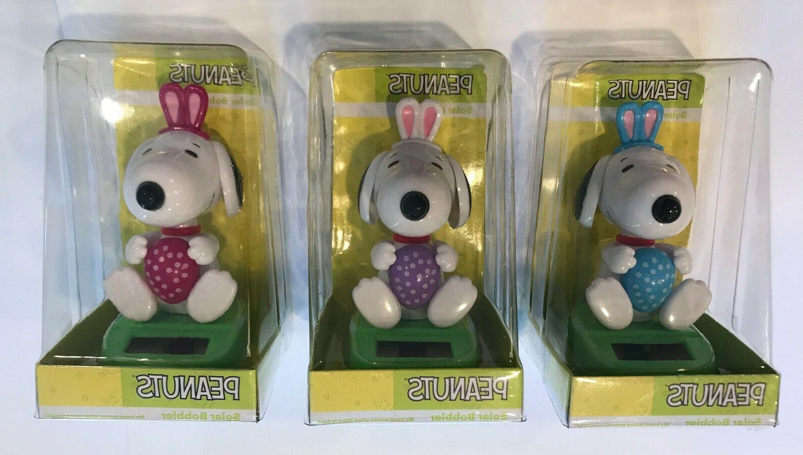 snoopy bunny ears easter egg solar bobbler