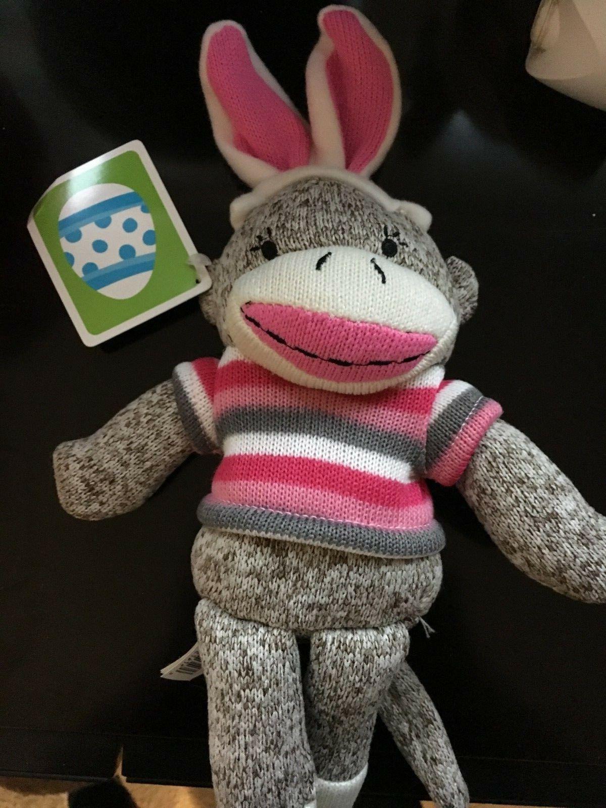 sock monkey easter bunny pink ears pink