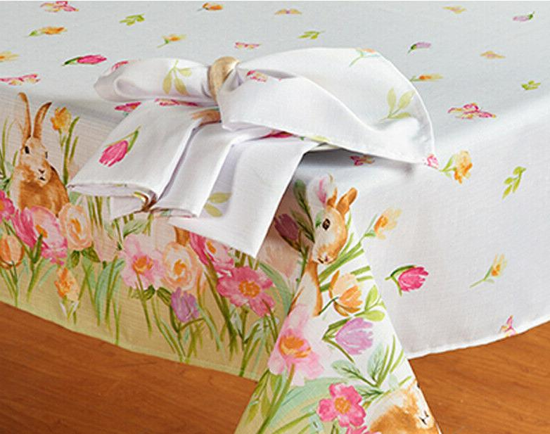 Spring Easter Bunny Tablecloth Floral Bunny Easter Tableclot