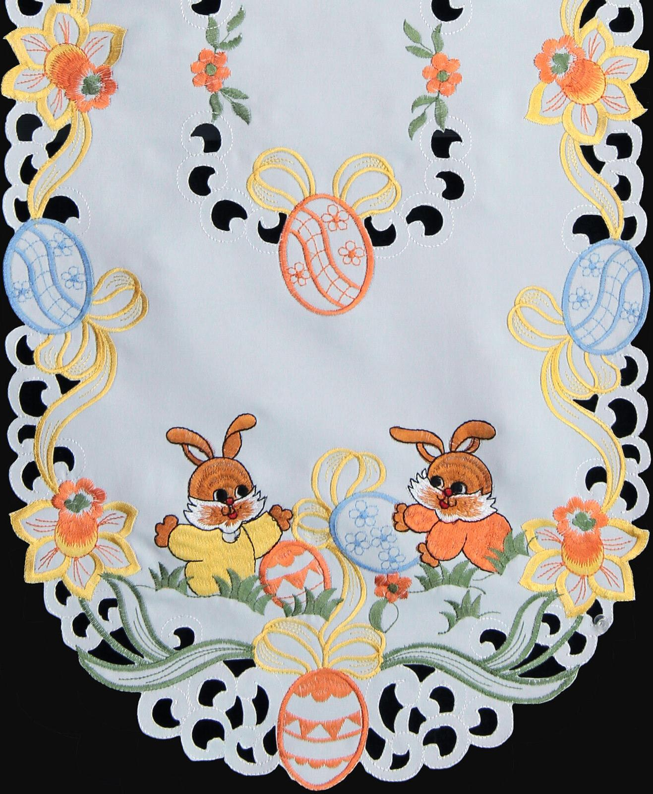 spring embroidered easter bunny egg floral placemat